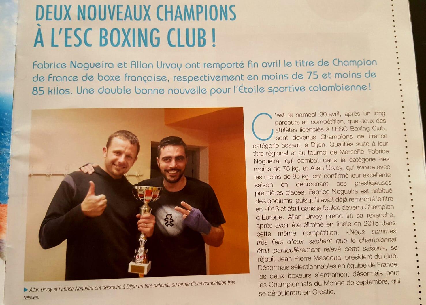 Deux nouveaux Champions à l'ESC Boxing Club Colombes